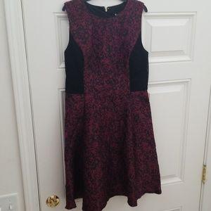 Dkny Dresses - Dkny Jacquard Fit & Flare Dress Red Black Midi